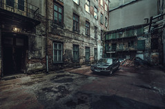 Bacyard (Tomasz Aulich) Tags: nikon sigmalens backyard car oldcar bmw735i bmwseries7 europe poland lodz travel rust rustic architecture building abandoned decay water brick wall windows door wheel pipe naturallight oldtimer auto street