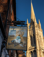 IMG_1258 (Adrian Royle) Tags: lincolnshire louth pub sign church spire sky