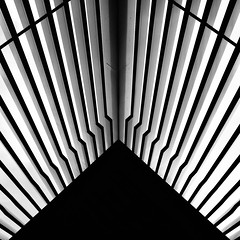 Simple Abstract 38 (No Great Hurry) Tags: x100f hackneywick londonoverground nogreathurry robinmauricebarr abstract bnw noiretcblanc blackandwhite architecture architectural minimal bw art design london lookingup simpleabstract blackwhitesquare landoltbrown