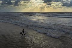 Into The Sea (Ivona & Eli) Tags: horizon surfing surfer clouds rays light sunset windy mediterranean waves sea