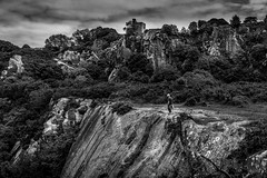 Made it (noel_milner) Tags: hb cliff ireland dublin mountains clouds love rockclimbing castle trees blackandwhite rope edge