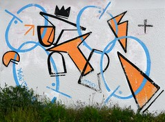Wall Art (rob kraay) Tags: graffiti abstractshapes blue plasterwall grass linecopy orange crown plussign robkraay abstract linedrawing romannumerals greenvegetation