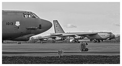B-52H at RAF Fairford - Mono version (baldychops) Tags: b52 b52h usaf aircraft bomber usairforce raf fairford raffairford gloucestershire airfield big huge buff bw mono blackwhite blackandwhite tarmac parked aviation military militaryaviation american america outdoor spring deployment
