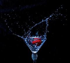 Strawberry Splash 3 (S2TDD) Tags: splash strawberry dropped water glass blue black liquid red fluid shine droplet