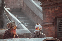 Two Wise Men (danielhibell) Tags: kathmandu nepal travel asia discover explore world street streetphotography people religion culture ambience mood buddhism hinduism colour light praying moving special