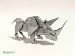 Rhinoceros (design by Kade Chan) (joeygami) Tags: origami design sculpture paper art craft rhino rhinoceros silver animal jungle wild photo photography