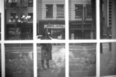 . (m_travels) Tags: reflections marketst sf street kodaktrix400 film analogue homedevelopedfilm blackandwhite cinestilldf96