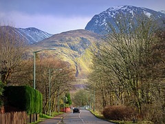 Ben Nevis (Rollingstone1) Tags: bennevis fortwilliam scotland mountain sky trees road cars rock climb northface snow ice rugged outdoor vivid colour summit peak grampianmountains lochaber landscape scenery