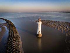New Brighton (Ade McCabe) Tags: merseyside england unitedkingdom gb lighthouse perchrock perchrocklighthouse wirral thewirral groynes seadefence rivermersey mersey irishsea beach tide anafi anafiparrot drone