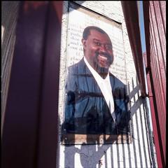 Barred church window (ADMurr) Tags: la southla church window bars shadow smiling pastor hasselblad 500cm 50mm distagon zeiss kodak ektar dac449