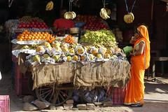 Colourful Karauli Market (Sekitar) Tags: india rajasthan southasia karauli market colour orange beautiful street pasar woman papaya grape melon banana