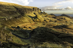 The Quiraing (mg photography2) Tags: quiraing trotternish ridge cliff cliffs isleofskye skye scotlandportree uk sunrise early morning light golden nature natural landscape photography travel canon sun warm warmth tree hills clouds sky shadows