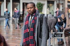Eye Contact (HughGilliland) Tags: colour tone tones scotlanduk glasgow urban city decisivemoment eyecontact mood expression humanexpression balding scarf candid streetphotographer streetview streetportrait streetphotography street male man