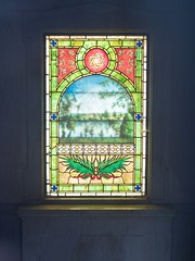 Stained Glass Window of Mausoleum From the Inside (Pak T) Tags: cemetery crypt grave graveyard lowell lowellcemetery mausoleum olympusmzuiko25mmf18 sargent stainedglass tomb
