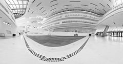 Wide Angle (Leipzig_trifft_Wien) Tags: leopoldstadt wien österreich at library inside building architecture black white monochrome bright lines curves bnw modern city urban
