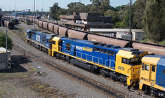 Three 82s and a ring-in (OzzRod) Tags: pentax k1 hdpentaxdfa28105mmf3556 railway trains locomotives engines 8211 8212 8174 8214 portwaratah coalloader newcastle australia