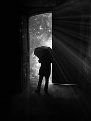 The dark side (Fan.D & Dav.C Photgraphy) Tags: black white twilight sidewalk light rayoflight shadow silhouette stars creative capture