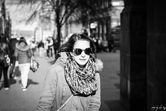 Out Of The Shade (Cycling-Road-Hog) Tags: candid canoneos750d ef50mmf18stm edinburgh edinburghstreetphotography fashion lady niftyfifty people places scarf scotland shades street streetphotography streetportrait style theroyalmile woman