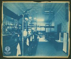 Sheekey's Saloon & Restuarant (Ohio County Public Library) Tags: wheelingwv wheeling johnjsheekey sheekeys eclipsesaloonrestaurant saloon tavern eclipsesaloon bar 12thstreet interior cyanotype tinceilings tinceiling forthenryryewhiskey