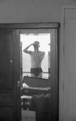 Selfie with Leica (Arne Kuilman) Tags: lostandfound zimmermans photos photonotmine scan v600 epson holiday found gevonden leica negatives leicaiif mirror selfie self