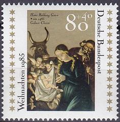 Deutsche Briefmarken (micky the pixel) Tags: briefmarke stamp ephemera deutschland bundespost weihnachtsmarke kunst art gemälde painting geburtchristi freiburgermünster hansbaldung maler zeichner kupferstecher artist