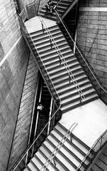 Liverpool ONE shopping centre (IanEdwards_uk) Tags: merseyside liverpoolone liverpool shopping one steps escalator black white tone separation