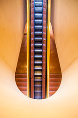 Until All That Remains is an Escalator of Misinformation (Thomas Hawk) Tags: america california franklloydwright marin marinciviccenter marincounty sanrafael usa unitedstates unitedstatesofamerica architecture escalator fav10 fav25 fav50 fav100