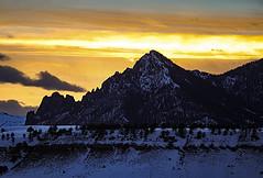 White Mountain At Sunset (wyojones) Tags: wyoming cody chiefjosephhighway shoshonenationalforest sunlightbasin whitemountain sunset clouds snow trees evening orangesky hoodoos absarokavolcanics volcanicrocks
