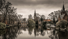 Brugge - Minnewater (AMSDekker) Tags: landscape travel city europe belgium brugge bruges minnewater water reflection trees clouds