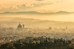 Golden Florence (mclcbooks) Tags: florence firenze fiesole italy italia cityscape landscape hills mist sunset evening