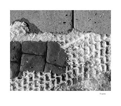 Tracks (agianelo) Tags: pavement snow monochrome bw bn blackandwhite