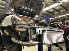 New front mount intercooler. (andrew edgar .......) Tags: subaru impreza wrx silver turbo awd car sydney blacktown