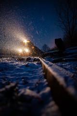 Tiger in the Snow (benpsut) Tags: coke light snow tiger wle we112 wemattbranch wheelingandlakeerie wheelingandlakeeriemattbranch winter blue blueour cokeplant dusk dusky evening glint headlight night railroad snowstorm squall trains