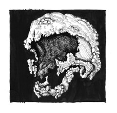 withering tumor 3 (ashley russell 676) Tags: withering tumor skull disintegrate disease cancer pen ink drawing illustration dark horror sickness plague art