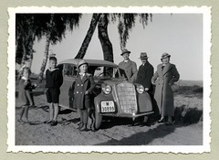 """Opel Olympia Cabrio-Limousine (Vintage Cars & People) Tags: vintage classic black white """"blackwhite"""" sw photo foto photography automobile car cars motor opel olympia cabrio cabriolet 1930s thirties lady ladies woman women fashion dress braids pigtails braidedpigtails family son daughter sister brother childhood coat woollencoat hat shorts kneehighs handbag birch birchtree sailorsuit"""
