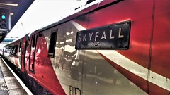 Electric locomotive 'Skyfall' at Doncaster. (ManOfYorkshire) Tags: lner train railway loco engine locomotive class91 electra electric pantograph skyfall 007 jamesbond promotional livery film movie named nameplate ecml doncaster station platform 3a