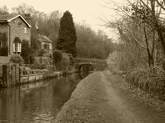 Canal at Hollinwood Lane, Strines.  (Peak Forest Canal)   February 2019 (dave_attrill) Tags: hollinwoodlane bridge 21 cottages marple peakforest canal towpath peakdistrict nationalpark derbyshire cheshire february 2019 sepia cheshirering