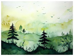 🔆🌳 Sunny forest 🌳🔆 Original Watercolour painting by me 👩‍🎨 (wittmannsvetlana) Tags: trees scenery watercolour treescape painting artwork art nature landscape forest aquarelle watercolor