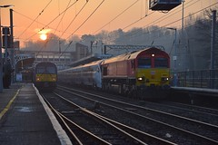 DB Cargo 66001 hauls Greater Anglias new Stansted Express 12 Car unit No.745104 through Ipswich Station, from Ripple Lane to Norwich Cpt. 28 02 2019 (pnb511) Tags: greateranglia trains railway ipswich greateasternmainline geml class745 class66 loco locomotive station sunrise misty emu stadler class360 360114
