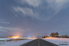 Wyarno Road (kevin-palmer) Tags: night sky stars starry astronomy astrophotography dark winter february evening wyarno wyoming sheridan nikond750 sigma14mmf18 snow snowy cold road clouds lightpollution hills north ursamajor bigdipper