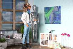 ah, I do like the new painting (photos4dreams) Tags: pouring medium technique technik acryl leinwand canvas color colour colorful colourful photos4dreams p4d photos4dreamz parzellen silicon mattel doll toy play fashion fashionistas outfit kleider mode puppenstube tabletopphotography diorama scenes 16 canoneos5dmark3 ken liamneeson starwarsii male man mann