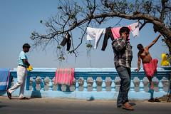 Blue (SaumalyaGhosh.com) Tags: blue people color india riverside river tree sky clothes phone street streetphotography xt2 fuji fujifilm