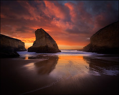 Fire at the Fin (PrevailingConditions) Tags: sharkfincove sunset clouds color landscape rocks surf ocean bayarea