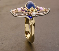 The Cypri Bleu ring. (Raintree Vermont) Tags: bleu gold sapphires diamonds 18k platinum cabochon cypri ring bling statement vermont artisan raintree handmade craftsman handcrafted brilliant