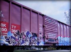 (timetomakethepasta) Tags: osek freight train graffiti art bkty boxcar kfw thk