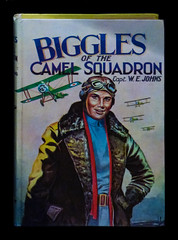 Biggles of the Camel Squadron (Steve Taylor (Photography)) Tags: bigglesofthecamelsquadron captwejohns book biplane helmet goggles leathercoat man newzealand nz southisland canterbury christchurch plane aeroplane aircraft airforcemuseum wigram ww1