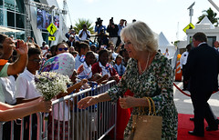Camilla receives flowers CJ6ed (Cayman Islands Government Information Services) Tags: royalarrival27march cayman royal visit charles prince wales camilla duchess cornwall owen roberts international airport united kingdom great britain