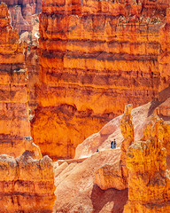A Little Scale And Perspective (Explored April 10th, 2019) (rebeccalatsonphotography) Tags: redrock perspective scale geology geologicformations hoodoos utah ut np nationalpark brycecanyon navajoloop trail rebeccalatsonphotography canon spring april 5ds 100400mm telephoto