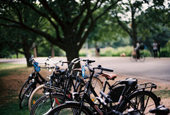 Amsterdam, Netherlands. (aqawitt) Tags: amsterdam ams street snap streetphotography shootfilm shooting film filmphotography fm2 dutch kodak kodakportra160 portra160 vondelpark nikon netherland nikonfm2 nikkor negative holland bicycle