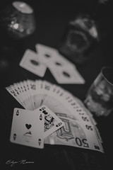 Want to play ? (eddy_737) Tags: canon heart cards game play playing money whiskey whisky winner 21 ace queen black white blackandwhite monochrome bokeh dof